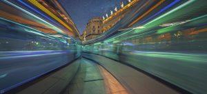 PHoto de nuit longue exposition Grand Hotel de Bordeaux